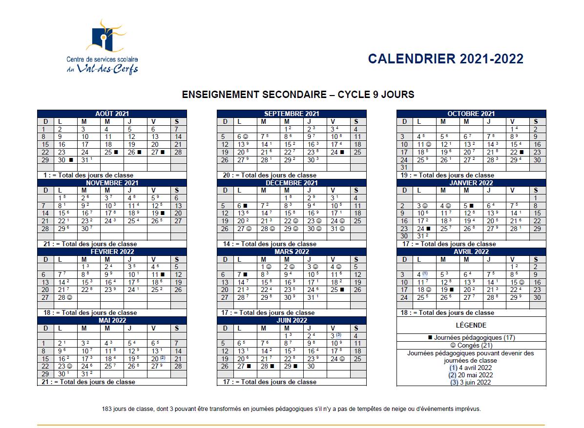 Calendrier Scolaire 2022 20 Calendrier scolaire 2021 2022 | École de la Haute Ville